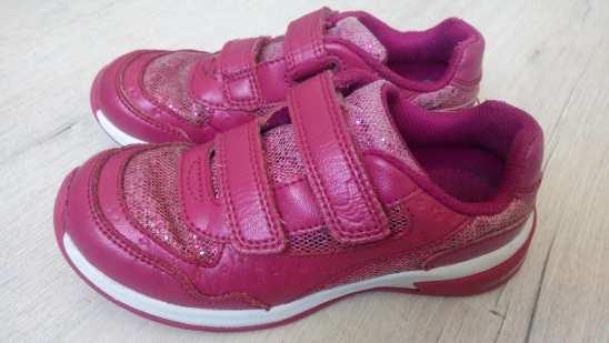 28 (18,5 см) С мигалками Кожа! Кожаные кроссовки для девочки