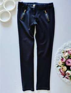 9 лет, рост 134 Стрейчевые черные штаны для девочки