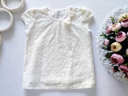 2-3 года, рост 92-98 Ажурная футболка для девочки