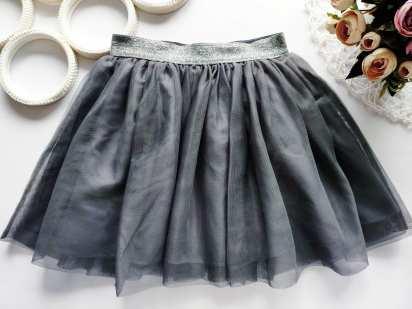 5,6 лет, рост 116 Серая фатиновая детская юбка