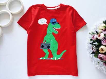 5,6 лет, рост 110-116 Футболка для мальчика с динозавром