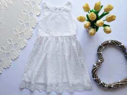4-6 лет, рост 110-116 Белое ажурное детское платье