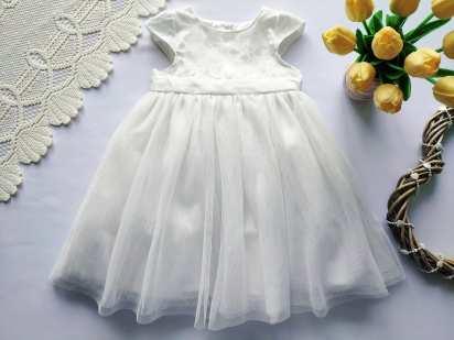 12\18 мес, рост 86 С блестками. Белое нарядное детское платье