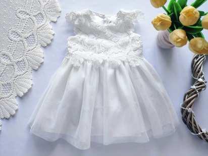 3-12 мес, Белое детское платье на крестины