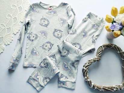 6-8 лет, рост 122-128 Детская пижама с единорожком