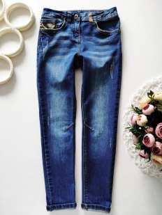 6,7 лет, рост 116-122 Стрейчвые джинсы с подворотом