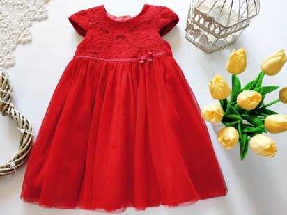 18\24 мес, рост 86\92 Красное детское платье