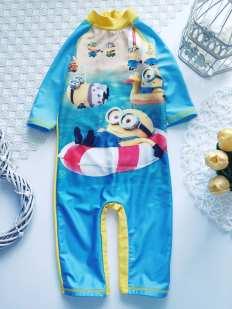 3,4 года, рост 98\104 Солнцезащитный купальный костюм с Миньонами