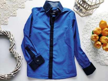 6 лет, рост 116 Синяя рубашка для мальчика