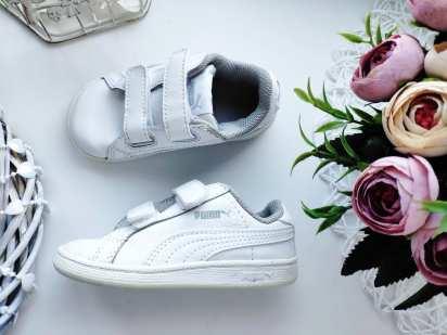 22 (14 см) Кожаные белые кроссовки на липучках