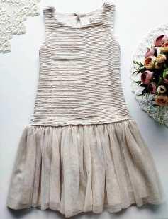 8 лет, рост 128 Пудровое детское платье