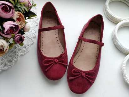 33 (21 см) Детские бордовые туфли- балетки