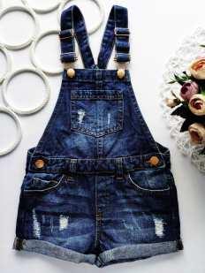 5,6 лет, рост 116 Стильный джинсовый комбинезон шортами