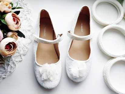 33 (21,5 см) Белые блестящие туфли- балетки