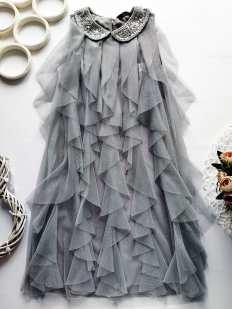 10,11 лет, рост 140,146 Серое нарядное фатиновое платье
