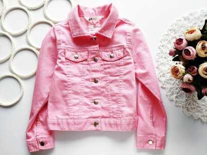 5,6 лет, рост 116 Стрейчевая розовая джинсовка