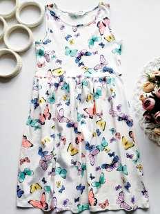 8,10 лет, рост 134,140 Новое платье в бабочках