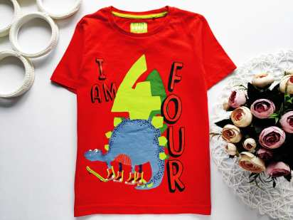 4,5 лет, рост 104,110 Новая футболка с динозавром
