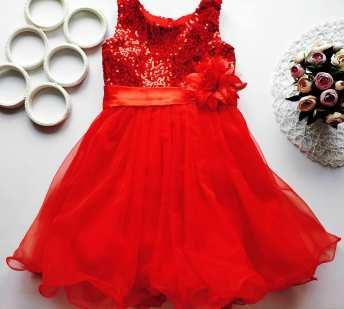 9,10 лет, рост 134,140 Нарядное красное платье