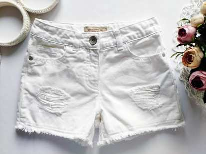 6 лет, рост 116 Белые джинсовые шорты