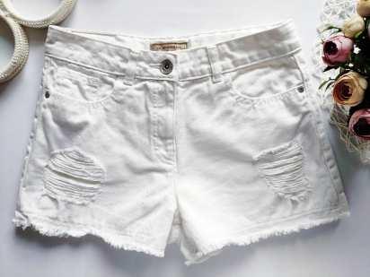 11 лет, рост 146 Белые джинсовые шорты