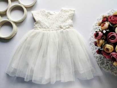 0-3 мес Белое пышное платье
