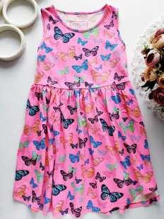 7,8 лет, рост 128 Детское платье в бабочках