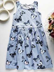 4,6 лет, рост 110,116 Летнее платьице в бабочках