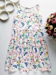 8,10 лет, рост 134,140 Летнее платье в бабочках