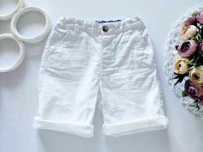 4,5 лет, рост 104,110 Льняные белые шорты