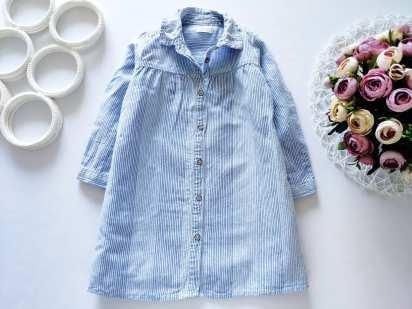 2,3 года, рост 98 Модное платье- рубашка для девочки