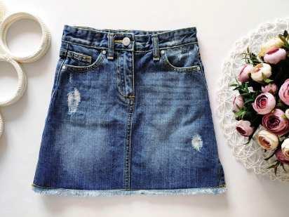 8 лет, рост 128 Рваная джинсовая юбка