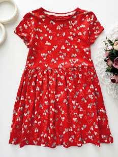 4,5 лет, рост 110 Платье в сердечках