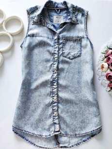 12,13 лет, рост 158 Легкая джинсовая рубашка