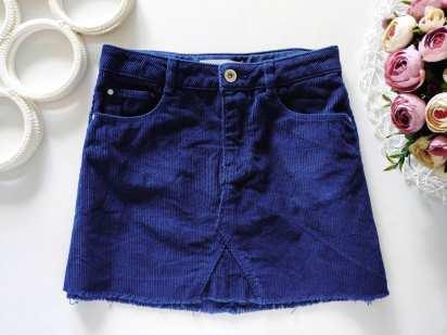 9 лет, рост 134 Вельветовая синяя юбка