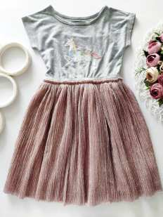 4,5 лет, рост 110 Платье с единорогом