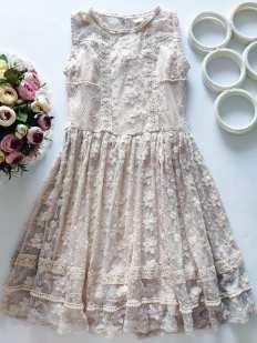 11 лет, рост 146 Нежное ажурное платье