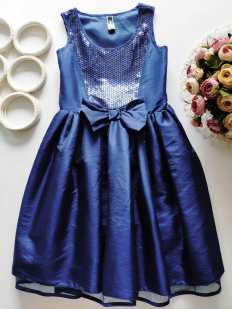 10 лет, рост 140 Синее нарядное платье