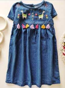 6,7 лет, рост 122 Джинсовое платье