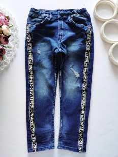 4,5 лет, рост 110 Модные джинсы с лампасами