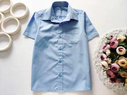 5,6 лет, рост 116 Детская голубая рубашка
