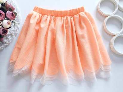 6,7 лет, рост 122 Оранжевая пышная юбка