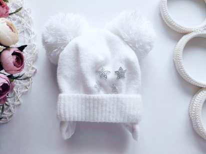 6,12 мес. Белая детская шапка
