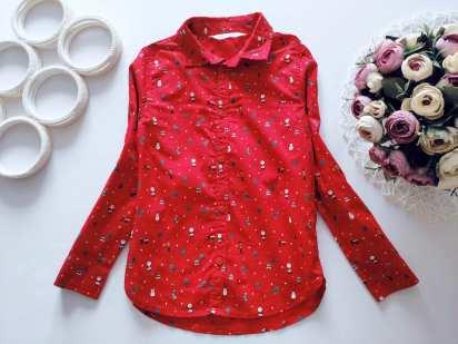 6,7 лет, рост 122 Новогодняя детская рубашка