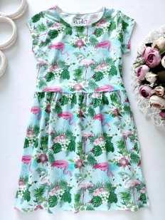 6,7 лет, рост 116,122 Платье с фламинго