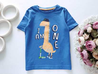 12\18 мес, рост 80,86 Детская футболка с динозавром