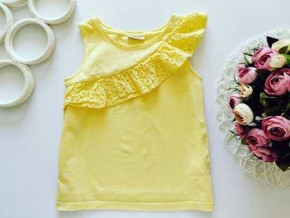 9 лет, рост 134 Лимонная футболка для девочки