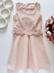 5,6 лет, рост 116 Пудровое детское платье