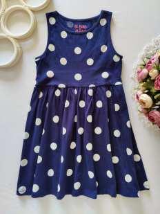 5,6 лет, рост 116 Синее платье в горох