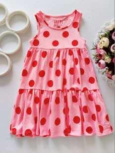 4,5 лет, рост 110 Розовое платье в горох
